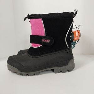 NWT KIDS SPORTO BLACK AND PINK BOOTS SZ 1.